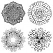 Vector set of 4 abstract floral vintage round symmetric lace ornament — Stock Vector #54743831