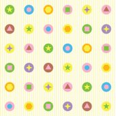 Seamless pattern from geometrical figures flat and bright colors — 图库矢量图片