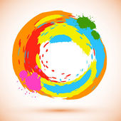 Vector round design element created from bright colored ink splashes — Stock Vector