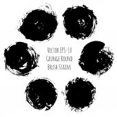 Vector set of 6 grunge black ink round brush stains — Stockvektor