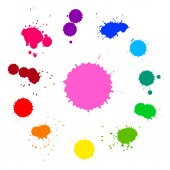 Vector set of colorful rainbow ink splashes isolated on white background — Stock Vector