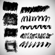 Vector set of 9 black grunge ink paint brush strokes and splashes — Stock Vector #63148581