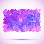 Watercolor blue and violet grunge banner with shadow — Stock Vector