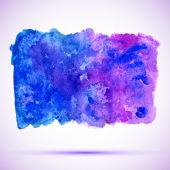 Watercolor ultramarine and violet grunge background banner with shadow — Stock Vector
