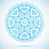 Blue watercolor illustration beautiful round lace snowflake with shadow — Vetor de Stock
