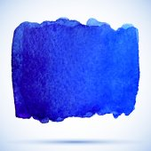 Watercolor grunge ultramarine paint stain with shadow — Stock Vector