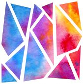 Colorful watercolor geometric background — Stock Photo