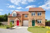 New exclusive houses with beautiful front garden — Stock Photo