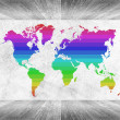 Wood wall and floor room interior White color with colorful world map — Stock Photo #71563335