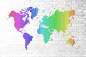 Red Brick wall texture Soft tone colorful world map — Стоковое фото