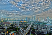 Sunshine morning time and transportation in Bangkok city Thailan — Stock Photo