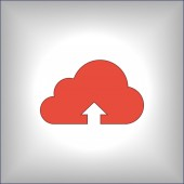 Cloud upload illustration icon — Stock Vector