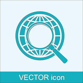 Earth with magnifying glass search icon — Vector de stock