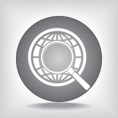 Earth with magnifying glass search icon — Stock vektor