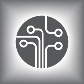 Circuit board, technology icon — Stockvector