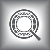 Earth with magnifying glass search icon — ストックベクタ