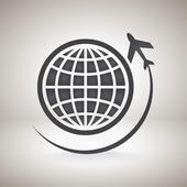Globe with airplane icon — Stockvektor