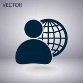 Global business, business man icon — Stock vektor