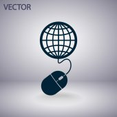 Globales management, computer-maus-symbol — Stockvektor