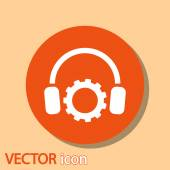 Setting parameters and musical, headphones icon — Stock Vector