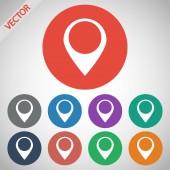 Ícone plana do ponteiro do mapa — Vetor de Stock