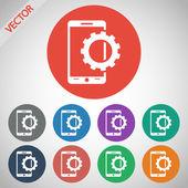 Parâmetros de configuração, ícone do smartphone móvel — Vetor de Stock