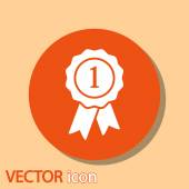 Badge with ribbons icon — Stockvektor