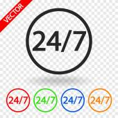 24 hours a day and 7 days a week icon. — Stock Vector