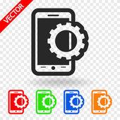 Ustawienie parametrów, ikona zdejmowany smartphone — Wektor stockowy