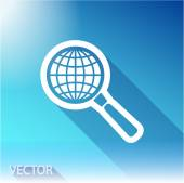 Earth with magnifying glass search icon — Stock Vector