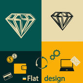 Diamond flat icon — Stock Vector