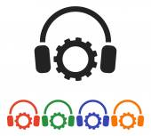Gear with headphones icon set — Stock Vector