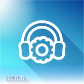 Setting parameters and musical, headphones icon on sky background — Stock Vector