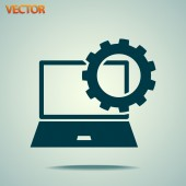 Устанавливая параметры, символ ноутбука — Cтоковый вектор