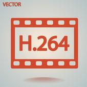 Icona video h. 264 — Vettoriale Stock