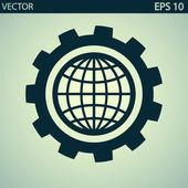 Установка параметров, значок глобуса — Cтоковый вектор