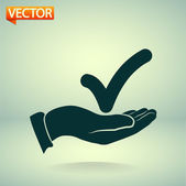 Tick with hand icon — Stock Vector