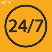 24 horas al día y 7 días un icono de la semana. — Vector de stock