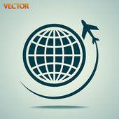 Viajar en avión por el icono del mundo — Vector de stock