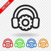 Setting parameters and musical, headphones icon — Stockvektor