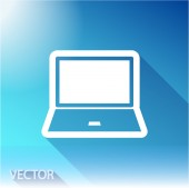 Laptop icon on sky background — Stock Vector
