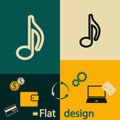 Müzik simgesi tasarım — Stok Vektör