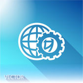 Setting parameters, globe Icon on sky background — Stock Vector