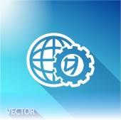 Parâmetros de configuração, ícone de Globo no fundo do céu — Vetor de Stock