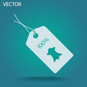 100 percent's  leather tag icon — Stock Vector