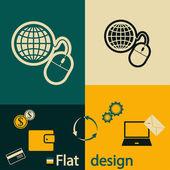 Gestão global, ícone do mouse de computador — Vetor de Stock