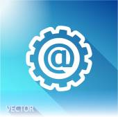 Setting parameters, e-mail internet icon on sky background — Stock Vector