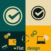 Potvrďte ikonou. Plochý design styl — Stock vektor