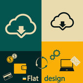 Cloud computing download icon — Stock Vector