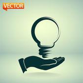 Bulb idea with human hand — Stock Vector
